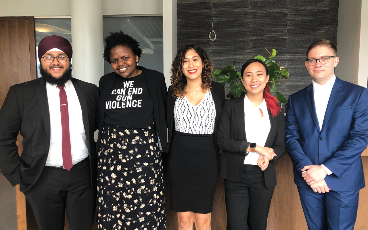 The 2019 Jeff Ubben Posse Fellows: Gurbir Singh, Gloria Oladipo, Indira Rivera, Izabelle Fernandez and Nicholas West.