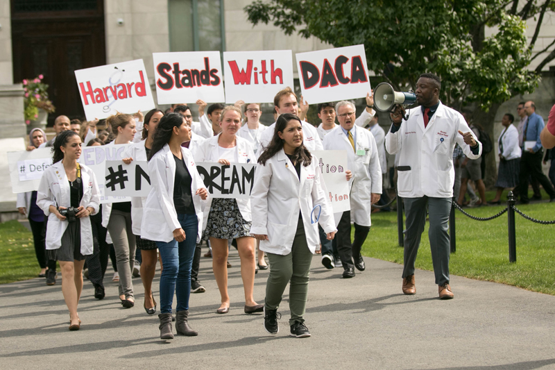 A Harvard Medical School rally in support of DACA, organized by Ahmed Elnaiem.
