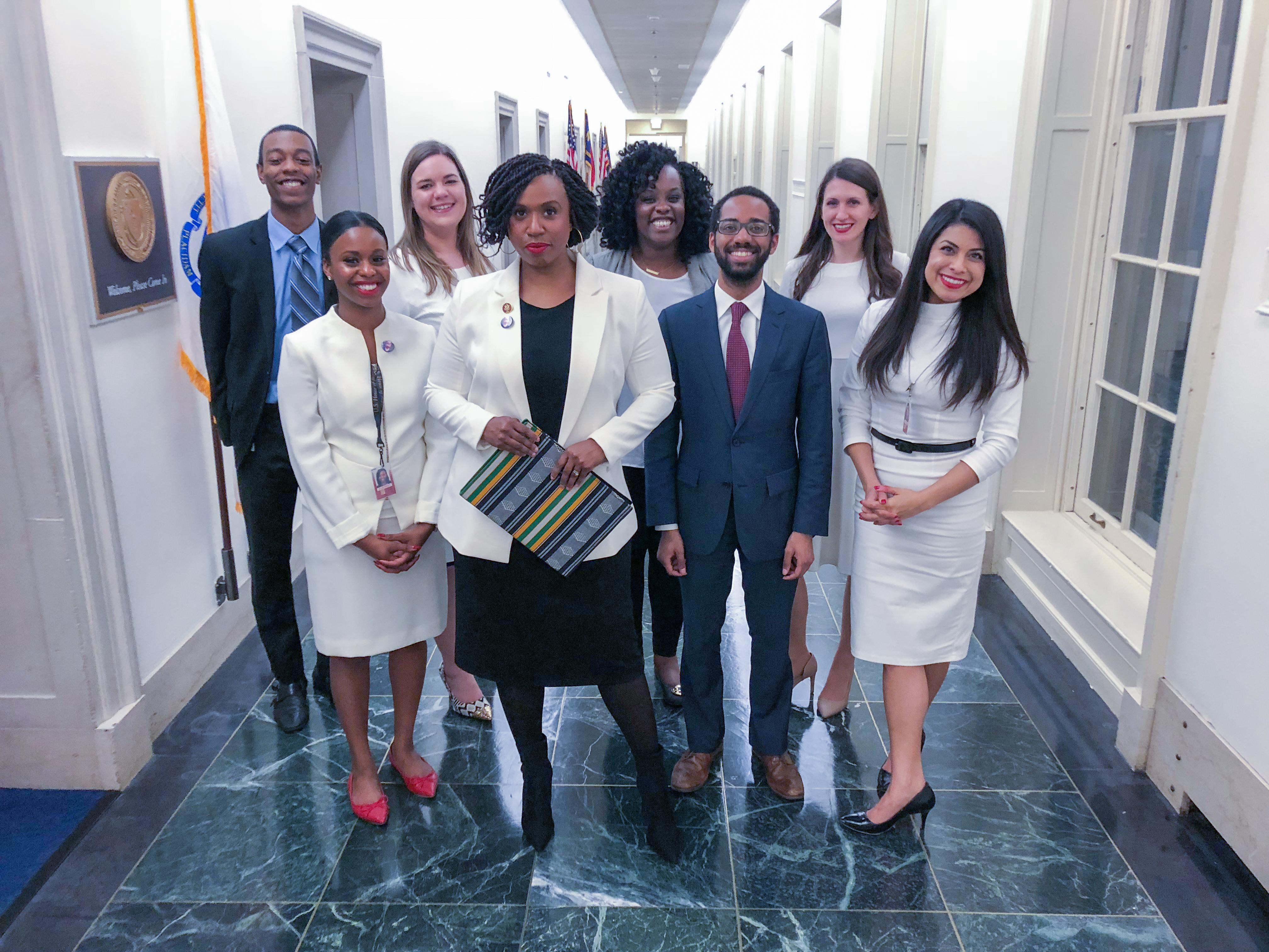 Congresswoman Pressley and her staff before the 2019 State of the Union address.