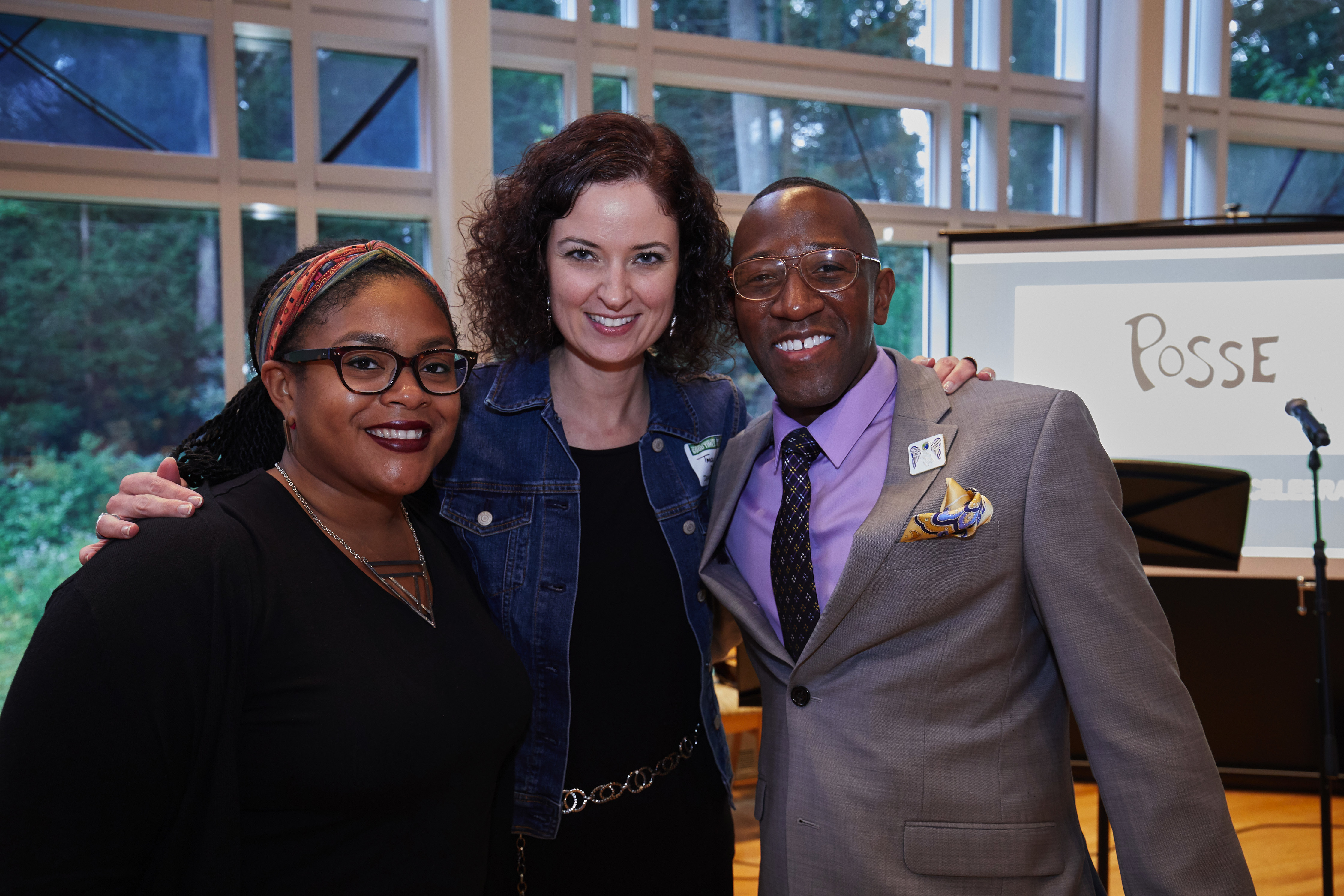 Posse alumna Jayda Shanks, Tracey Reza and Babson alumnus Jamaal Eversley at Babson College's celebration of 15 years of Posse on campus.