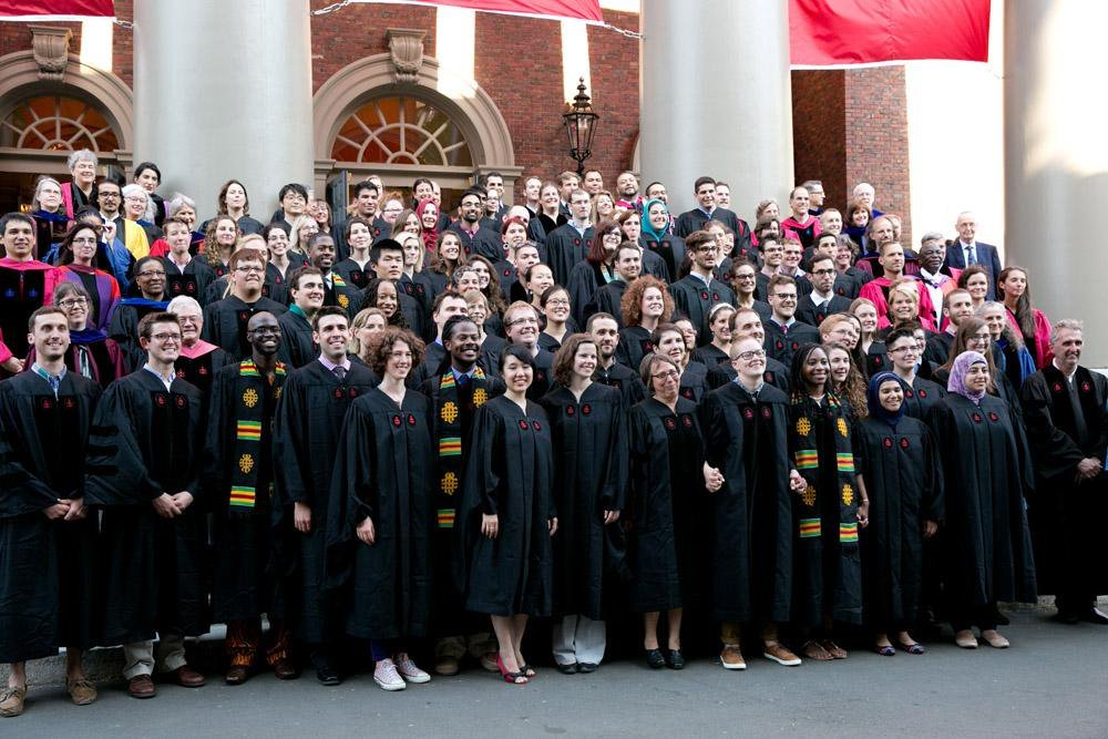 Mouhamadou Diagne (front row, third from left) with the 2015 graduates of Harvard Divinity School. (Photo: Harvard University)