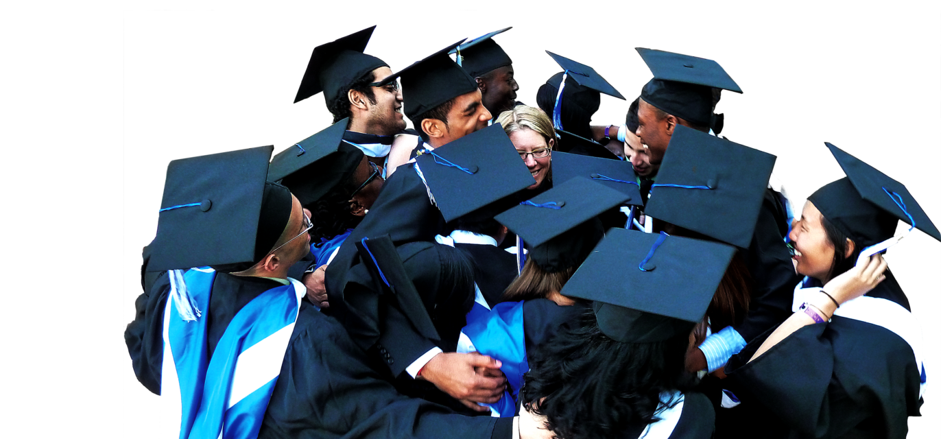 College graduates huddling together with a college administrator