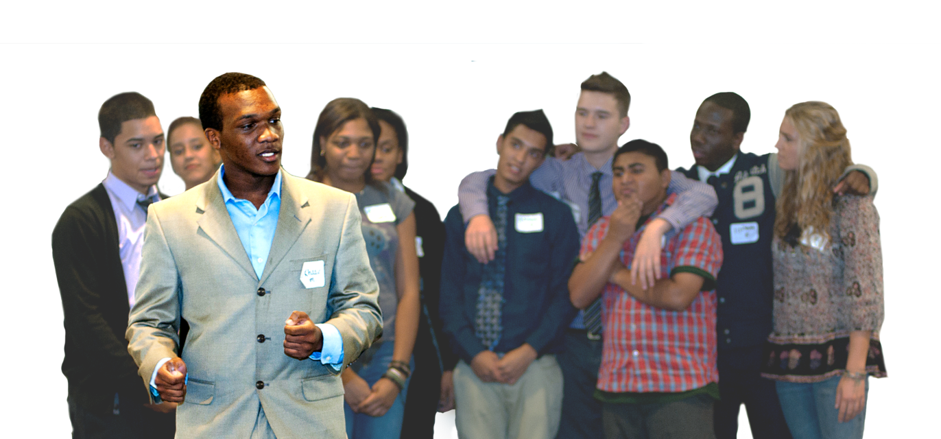 High school student speaking amidst a crowd