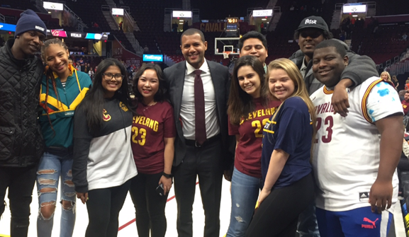 Koby Altman (center) with members of the first Posse at Case Western Reserve University.