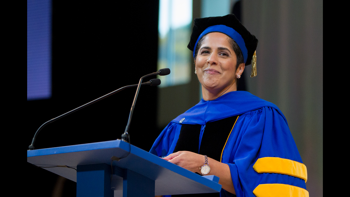 Ithaca College President Shirley Collado at her inauguration ceremony in 2017.