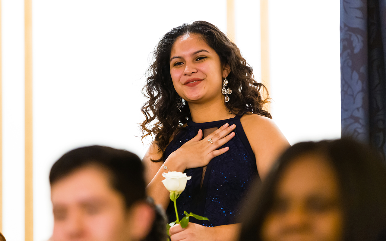 Evelin Morales, Bucknell Posse 11, at a 2017 Boston Awards Ceremony