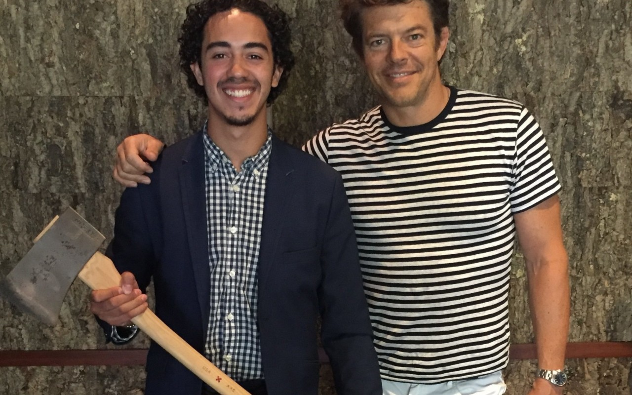 Connecticut College Scholar and Ubben Posse Fellow Christian Vazquez with his host, film producer Jason Blum.