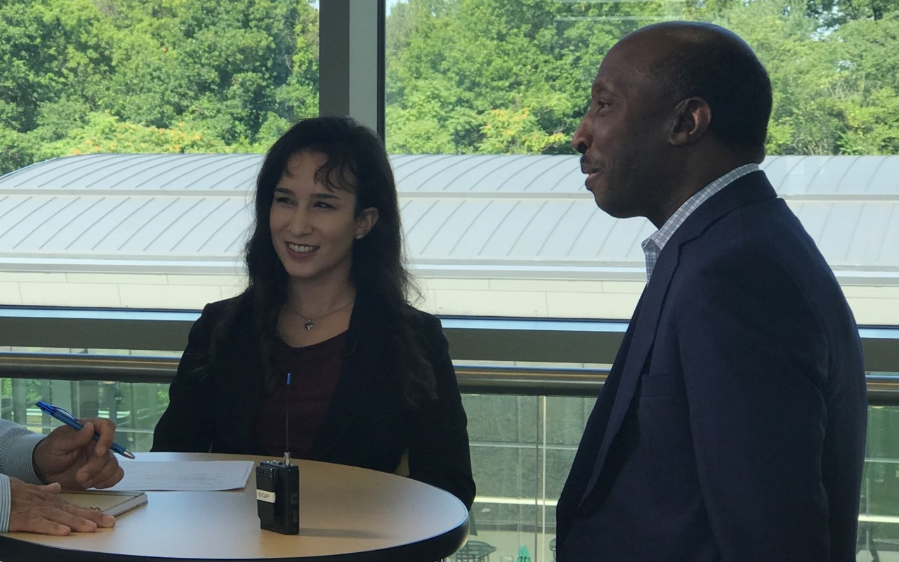 Davidson College Scholar and Ubben Posse Fellow Claudia Hernandez with her host Ken Frazier, chairman and CEO of Merck.