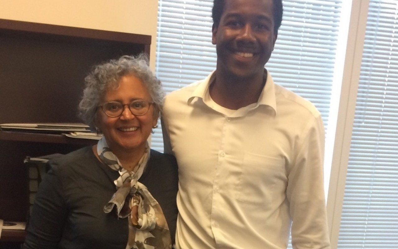 Denison University Scholar and Ubben Posse Fellow Daweed Abdiel with his host Cecilia Conrad.