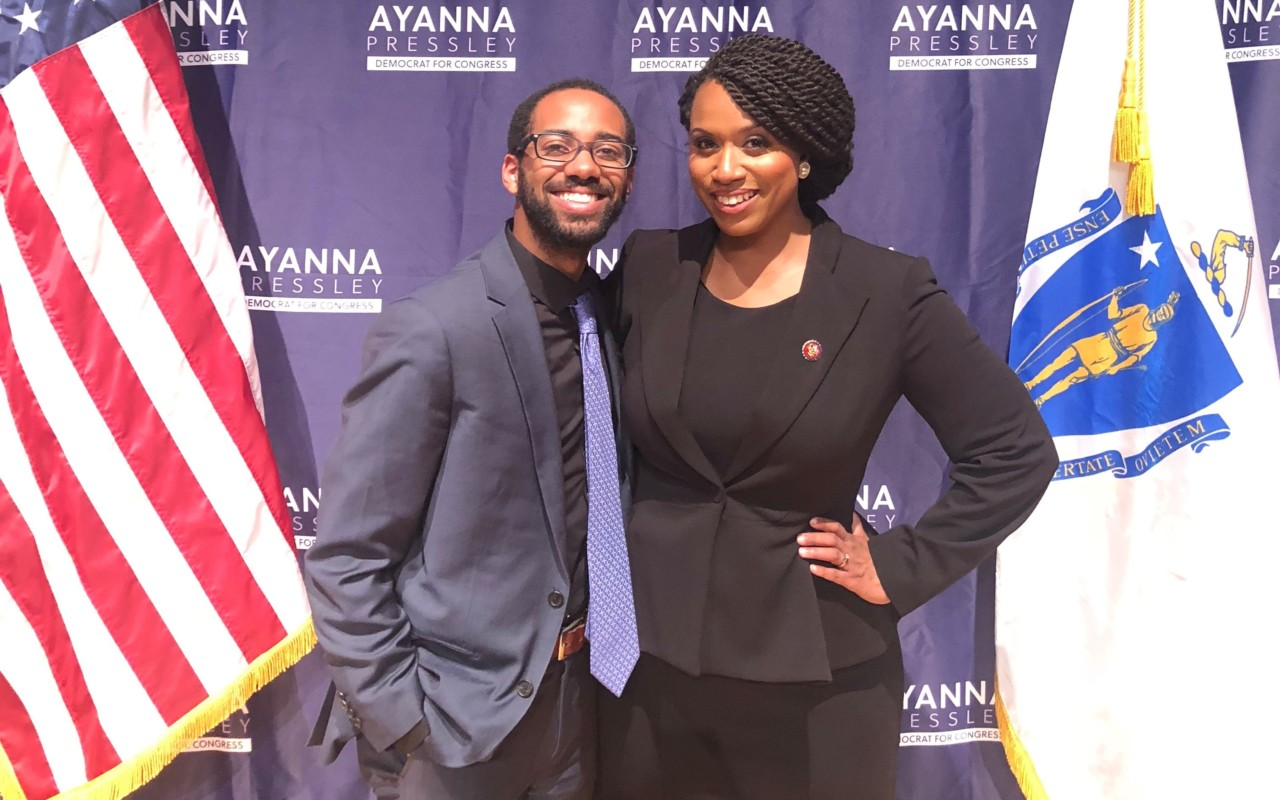 Centre College Posse alumnus Dennis Barrett with Congresswoman Ayanna Pressley.