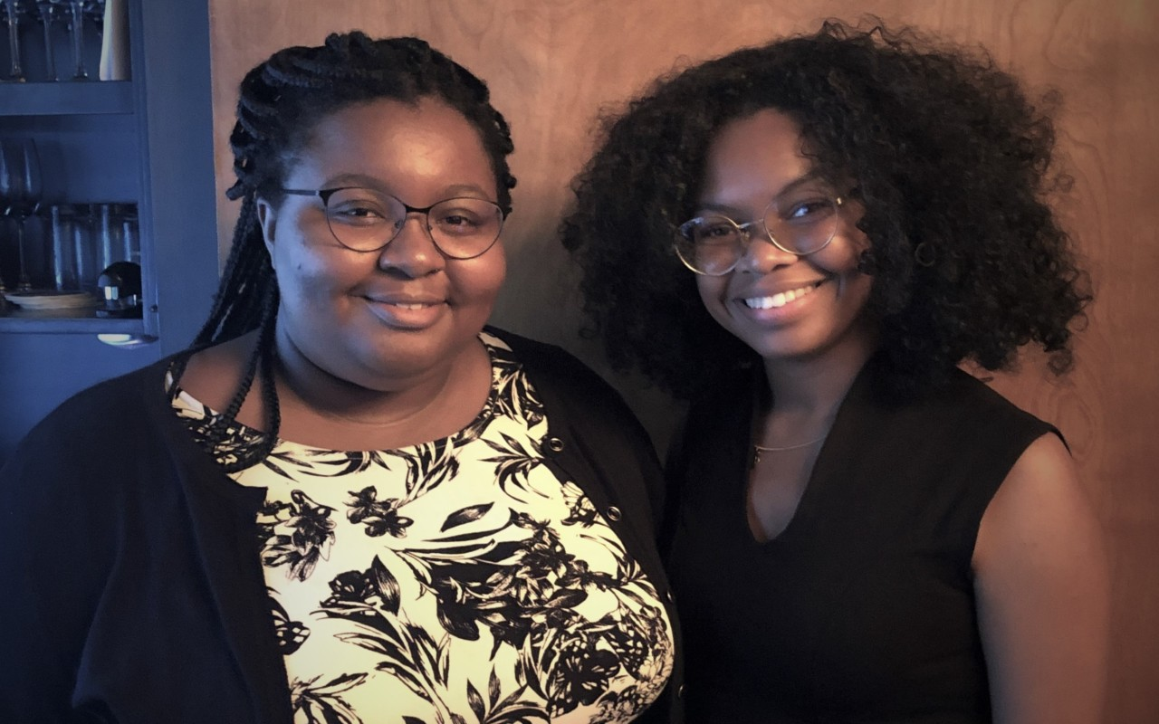Mount Holyoke Posse Scholars Ashlee Jones and Kayla Taylor at the 2019 Internship Celebration.