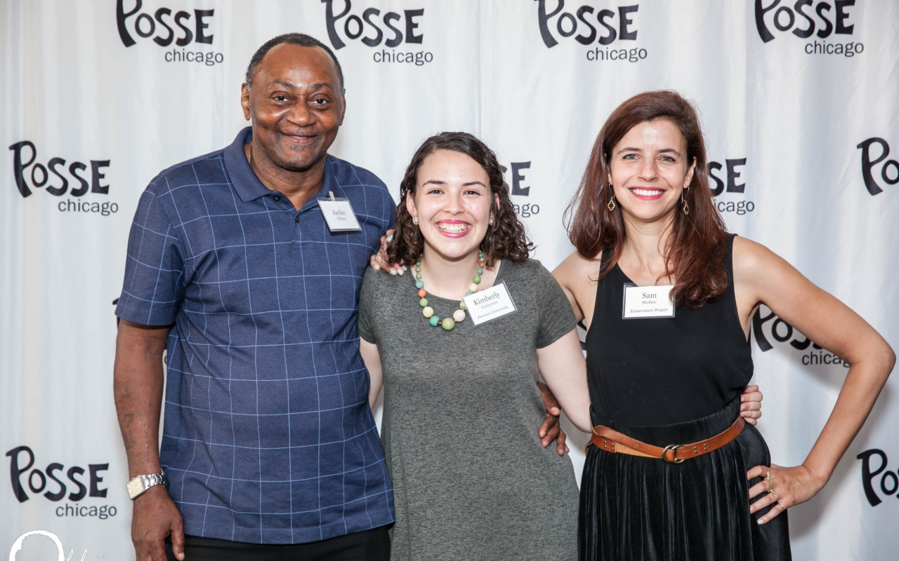 Posse Scholar Kimberly Gutierrez (center) pictured with Jackie Wilson (left) and Samantha Steiber (right) from the Exoneration Project.
