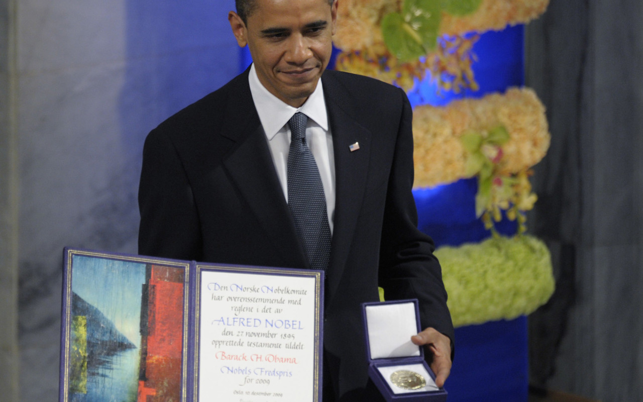 President Obama at the Nobel Peace Prize ceremony in 2010.