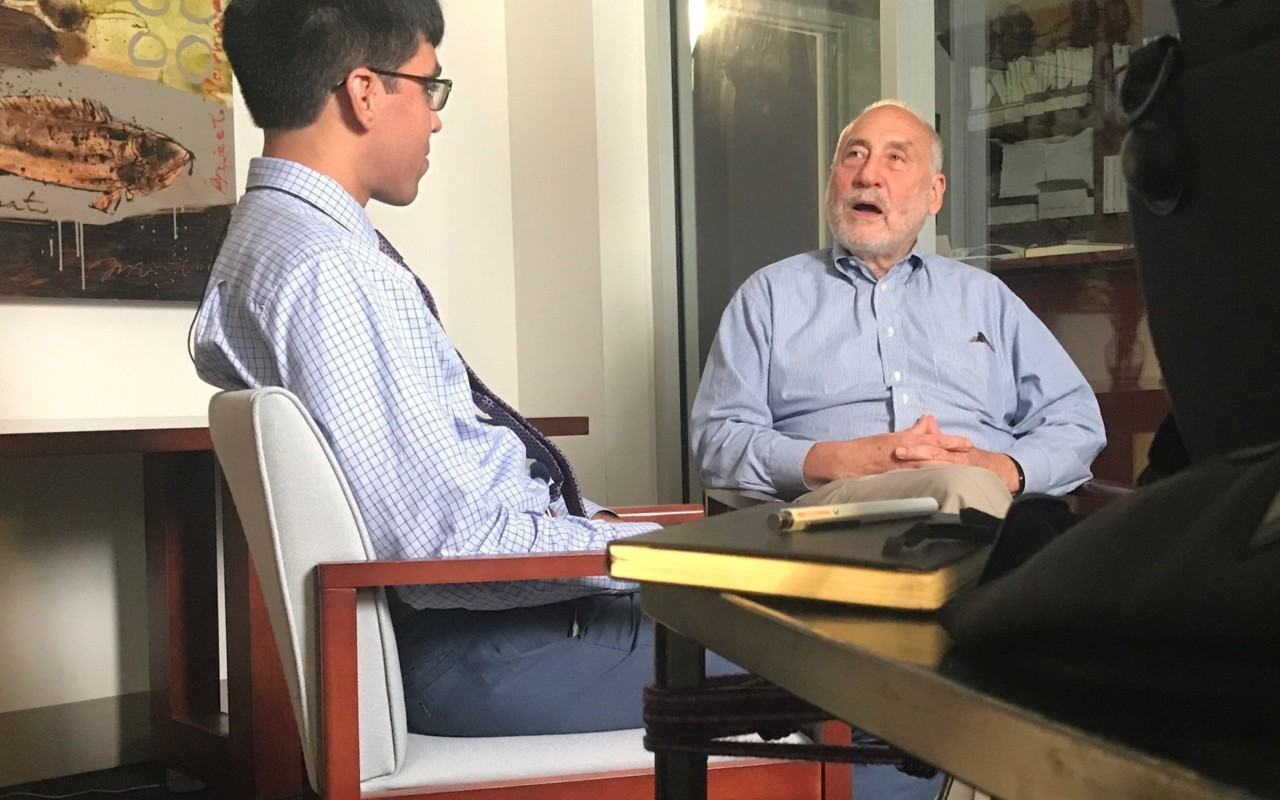 UVA Scholar and Ubben Posse Fellow Zaakir Tameez with his host Joseph Stiglitz.