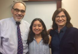 Middlebury College Scholar and Ubben Posse Fellow Paola Meza with her hosts Irwin and Karen Redlener.