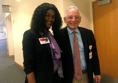 George Washington University Scholar and Ubben Posse Fellow Xaria Jordan with her host Steven Corwin, President and CEO of NewYork-Presbyterian.